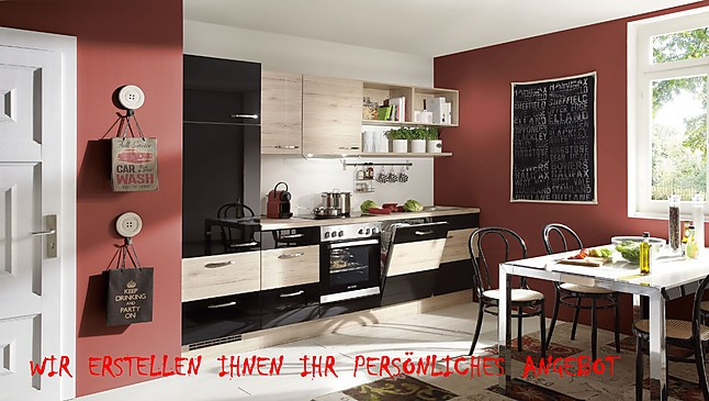 nobilia musterk che lack schwarz ultra hochglanz eiche san remo nachbildung. Black Bedroom Furniture Sets. Home Design Ideas