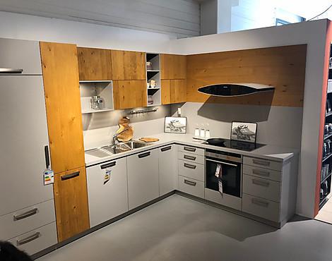 L küche steingrau mit echtholz elementen mpl steingrau roc eiche astig natur