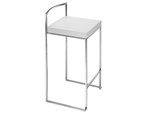 CUBO STOOL H65 WHITE LEATHER - CUBO STOOL H65