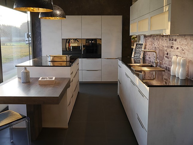 selektion d musterk che hochwertige betonk che mit granitarbeitsplatte ausstellungsk che in. Black Bedroom Furniture Sets. Home Design Ideas