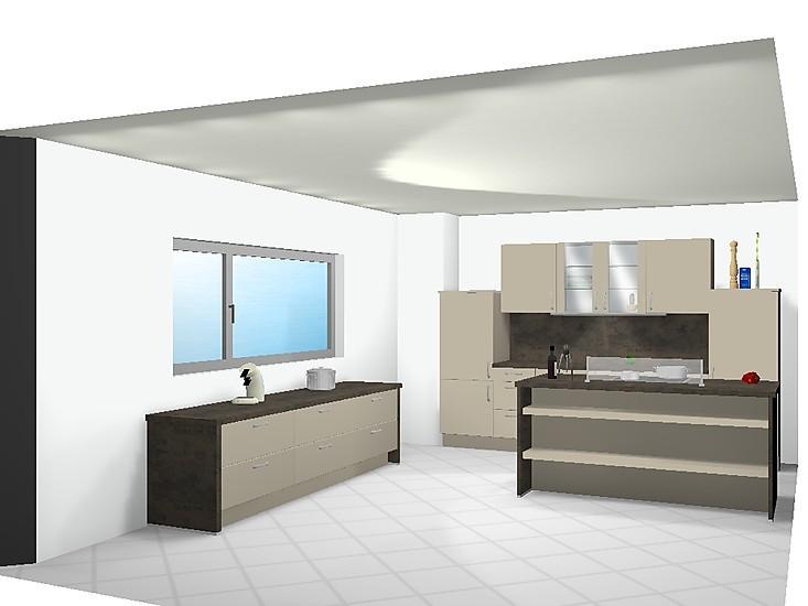 Nobilia Musterküche Moderne Küche in Hochglanz Sand