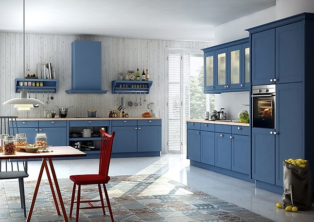 Großzüzige küche in echtlack blaubeere softmatt