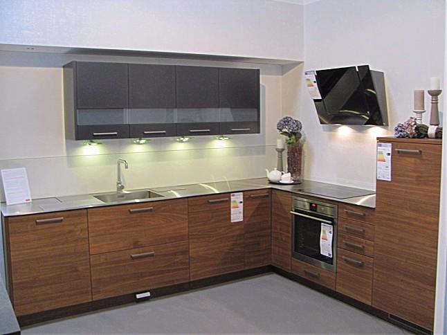 alno-musterküche küche edelstahl an walnussfurnier ... - Alnosign Küche