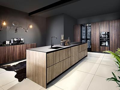 Inselküche - helle und dunkle Holzfront kombiniert