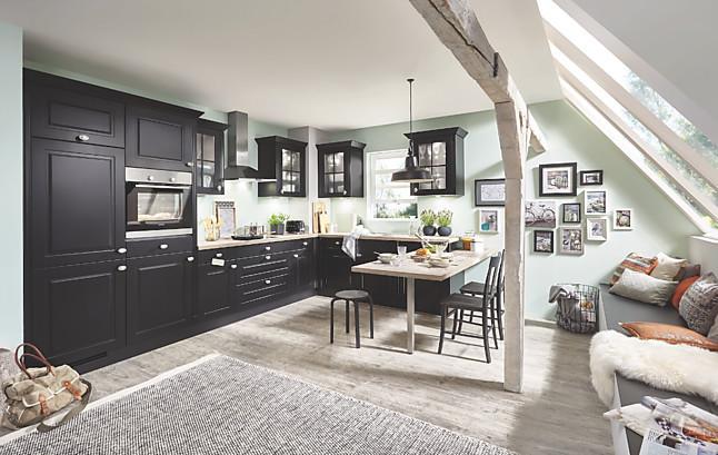 linea musterk che einbauk che landhaus in schwarz matt inkl ger te lieferung und montage. Black Bedroom Furniture Sets. Home Design Ideas