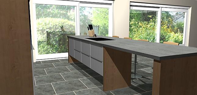 nobilia musterk che zeitlose design k che theke in holz beton und hochglanz optik k che mit. Black Bedroom Furniture Sets. Home Design Ideas