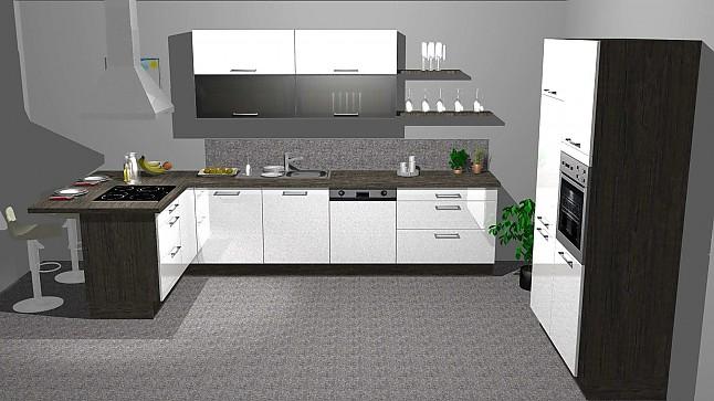 kitchenclick musterk che wei e hochglanz k che mit theke ausstellungsk che in gr nstadt von. Black Bedroom Furniture Sets. Home Design Ideas