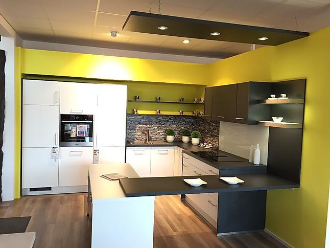 Impuls-Musterküche Moderne schlichte Grafit-Weiß Matt Küche ...