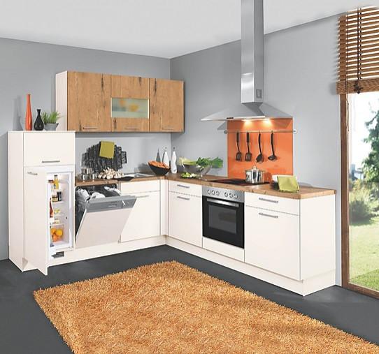 kleine L Küche mit Magnolien Fronten und Arbeitsplatte in Wildeicheholz  Dekor