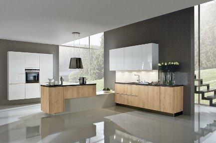 Küche weiß kombiniert mit Eiche - Küchenstudio Martin in Herschbach bei Montabaur und Hachenburg