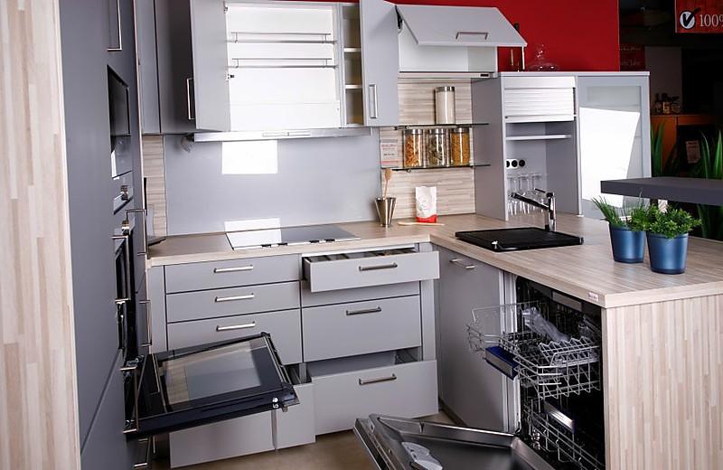 musterk che bie strukturlack steingrau ausstellungsk che in regensburg von pusch. Black Bedroom Furniture Sets. Home Design Ideas