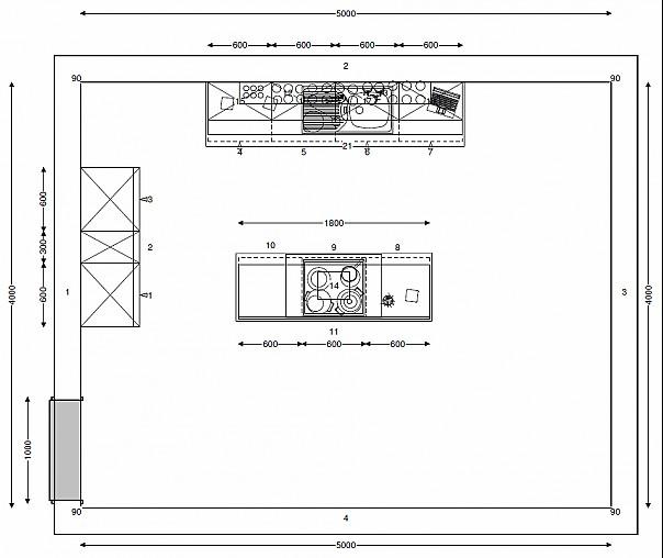 kitchenclick musterk che schwarze inselk che mit hochglanz. Black Bedroom Furniture Sets. Home Design Ideas