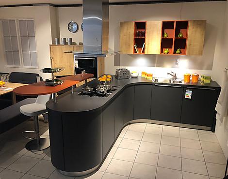 Moderne t küche anthrazit matt lackiert eiche mit runden elementen biella