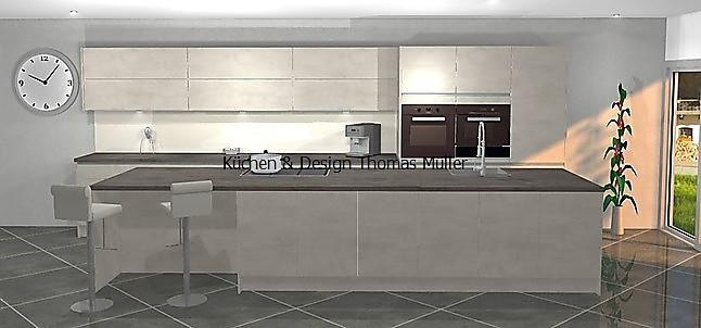 nobilia-musterküche grifflose beton küche in weißbeton mit