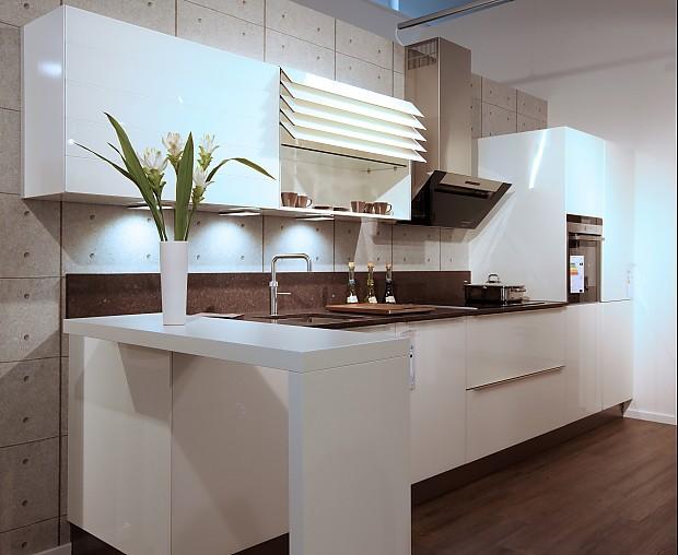 Häcker-Musterküche Küchenzeile mit Designglas-Front in weiß, ca. 4 ...