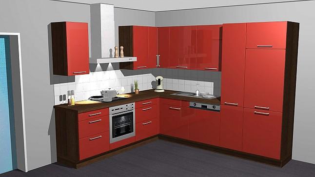 kitchenclick musterk che hochgl nzende rote k che in l. Black Bedroom Furniture Sets. Home Design Ideas