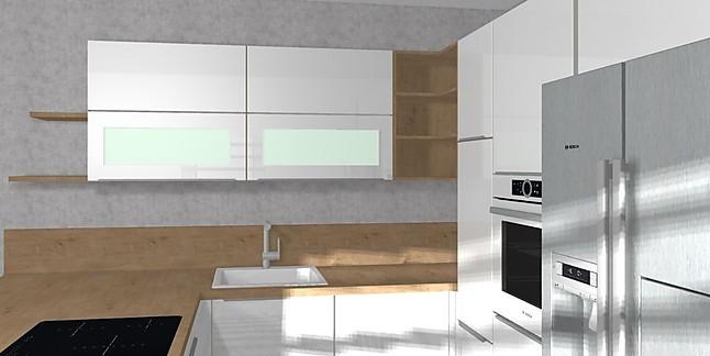 Nobilia-Musterküche Hochglanz U Küche mit Bosch Geräten und Side by ...