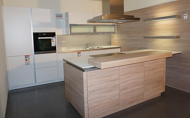 Schüller   Modell Nova K100S Weiß Moderne Grifflose Küche Mit Insel Und  Sitzgelegenheit
