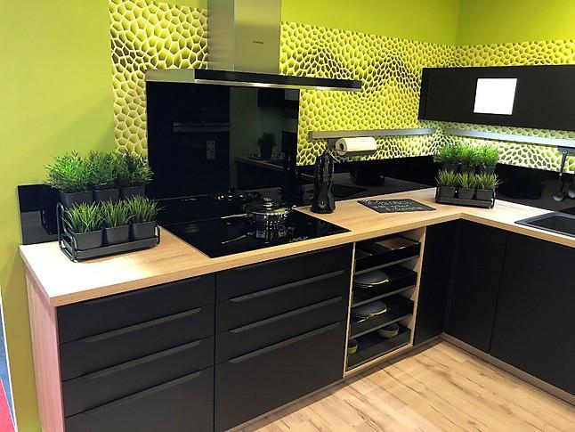 Nobilia-Musterküche Moderne U-Küche In Schwarzmatt Und
