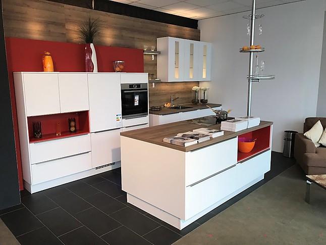 Küche Lacklaminat Alpinweiß matt mit Eiche Ontario