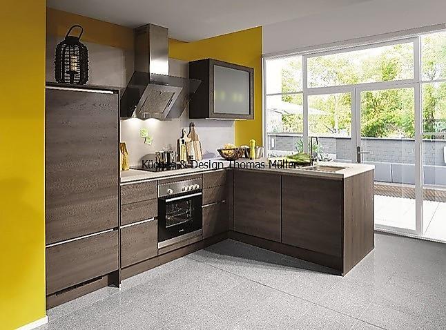 nobilia musterk che grifflose l k che mit raumteiler in holz kopffreier dunstabzugshaube und. Black Bedroom Furniture Sets. Home Design Ideas