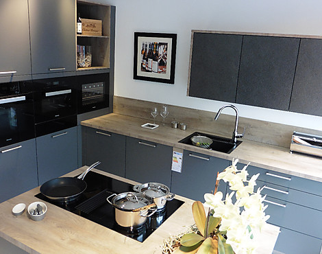 AV 6000 Lavagrau Mattlack   Kompakt Küche Mit Insel