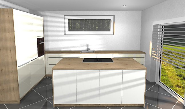 artego-Musterküche L - Küche mit Kochinsel in Hochglanz Weiß mit ...