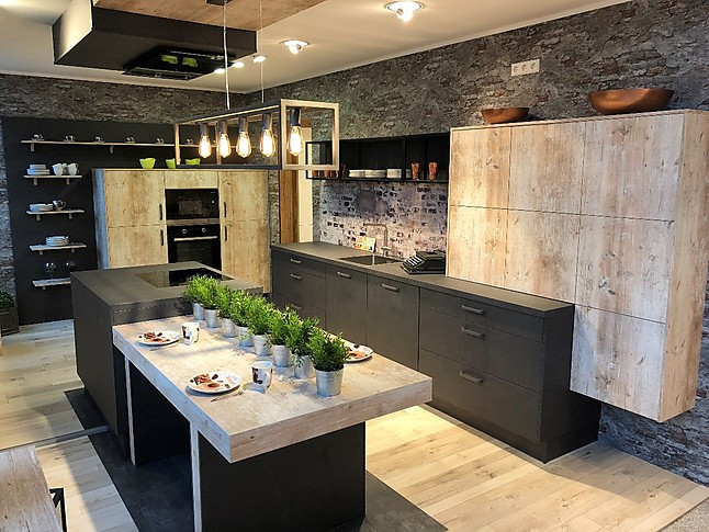 nobilia musterk che moderne inselk che in grauschiefer nb und findus nb ausstellungsk che in. Black Bedroom Furniture Sets. Home Design Ideas