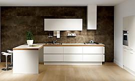 Häufig Helle L-Küche mit Bar in Holzoptik TN03