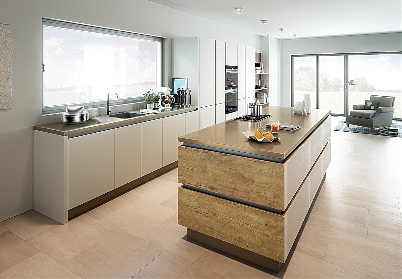 Designküche Inox Matt Miniperl Urban Wild Oak/Matt Lack Stone