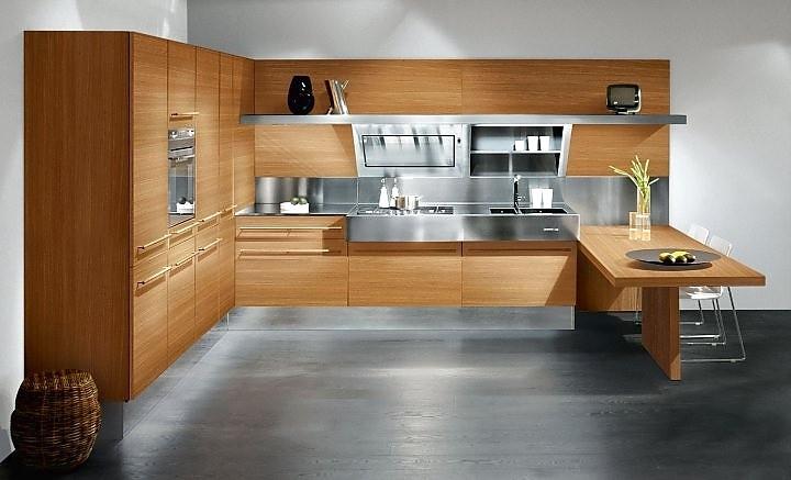 holzk che mit metall kombiniert. Black Bedroom Furniture Sets. Home Design Ideas
