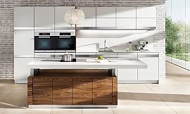küchenzeile linee in kernbuche und hochglanz weiß - Küchenzeile Hochglanz Weiß