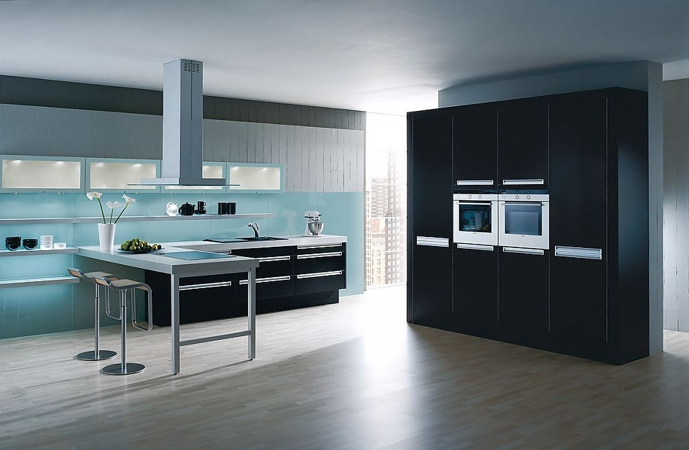 Einbauküchen mit theke  Küchenzeile mit Arbeitsinsel und Theke