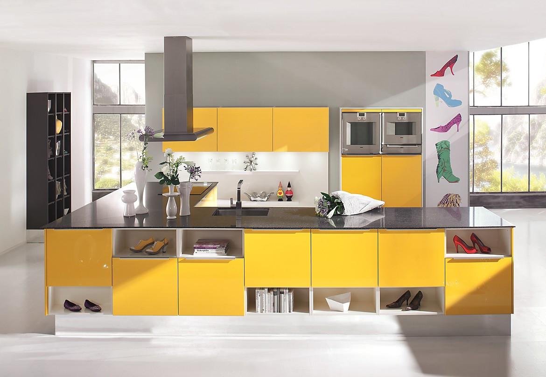 individuelle k che in wei und gelb. Black Bedroom Furniture Sets. Home Design Ideas