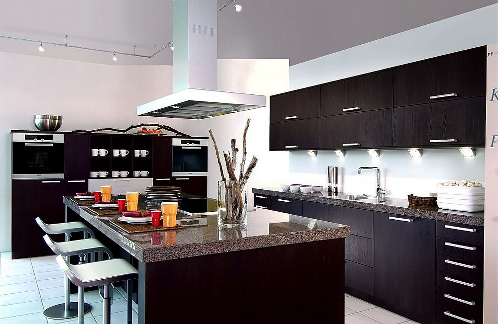 inselk che in eiche tabak furniert. Black Bedroom Furniture Sets. Home Design Ideas