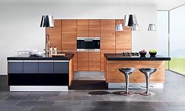 U küchen mit insel  Design-Inselküche k7 in Nussbaum und Hochglanz Schwarz