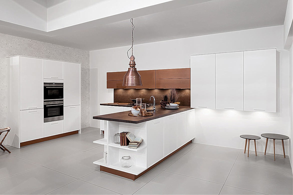 Designk che smala snow matt lack power milchglas kupfer for Latest kitchen designs 2016