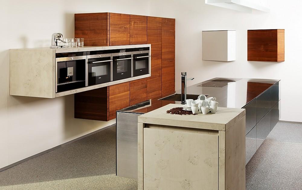 Kuche cube und balance in edelstahl betonoptik und for Betonoptik küche