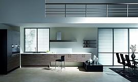 u form k che in hochglanz violett mit arbeitsplatte in steinoptik. Black Bedroom Furniture Sets. Home Design Ideas