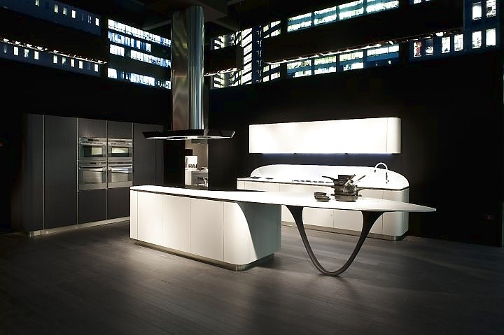 l-küche mit insel schwarz-weiß, Moderne deko