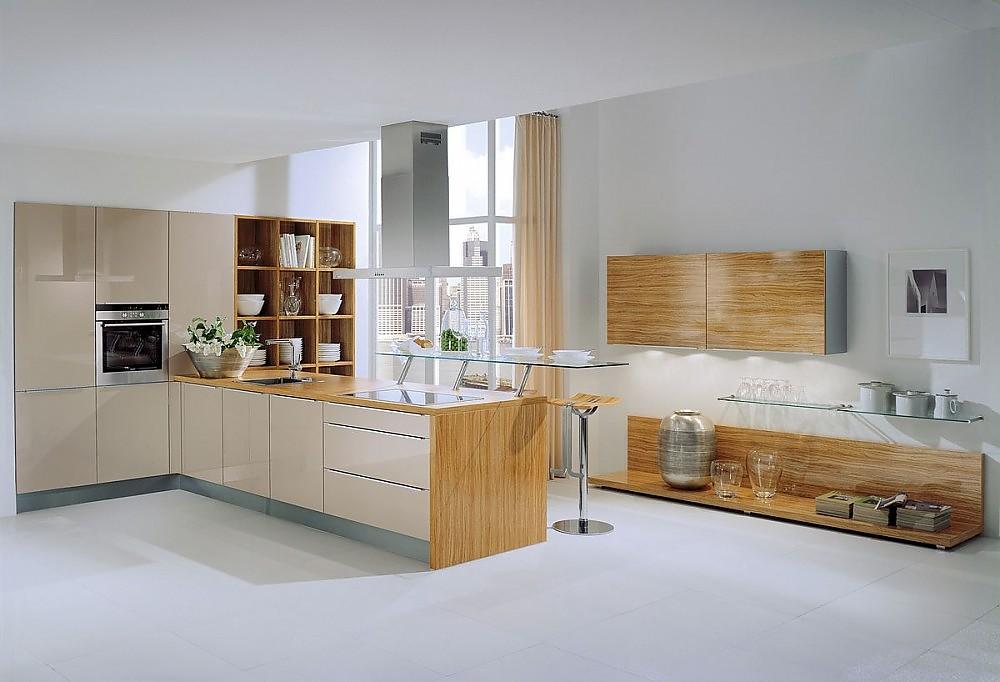 k chenzeile und sideboard in holz und hochglanz champagner mit esstheke aus glas. Black Bedroom Furniture Sets. Home Design Ideas