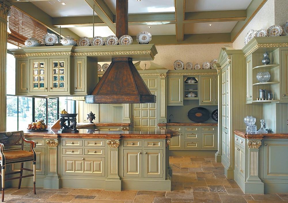 Englische landhausküche camebridge mit insel in grün