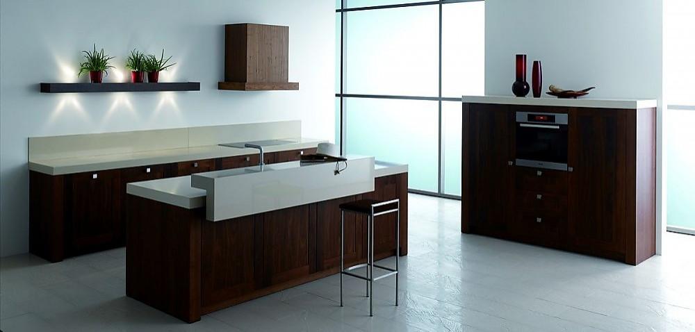 k chenzeile lyon mit insel und hochschrank in nussbaum massiv. Black Bedroom Furniture Sets. Home Design Ideas