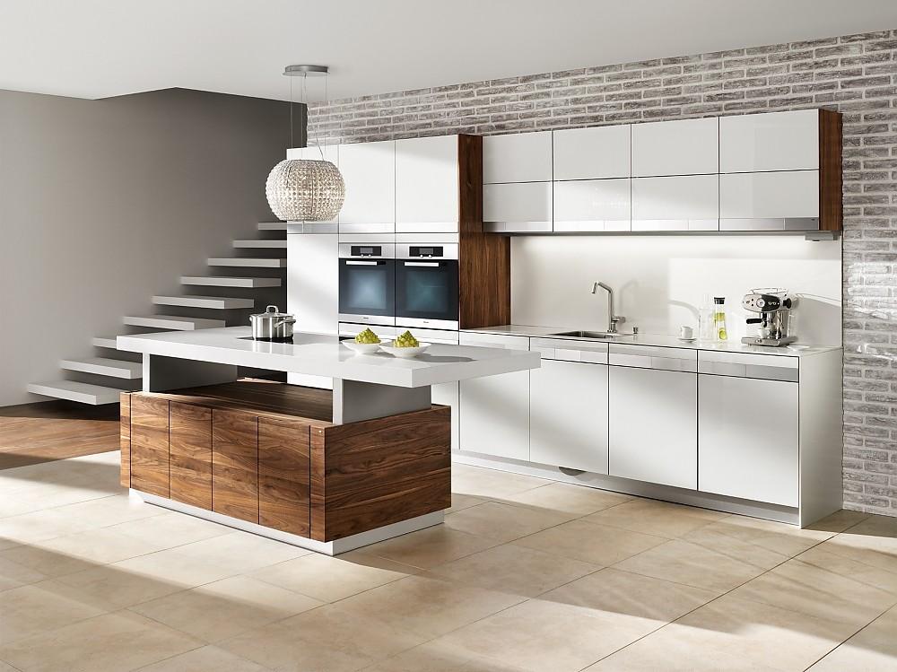 design inselk che k7 in nussbaum und hochglanz wei. Black Bedroom Furniture Sets. Home Design Ideas