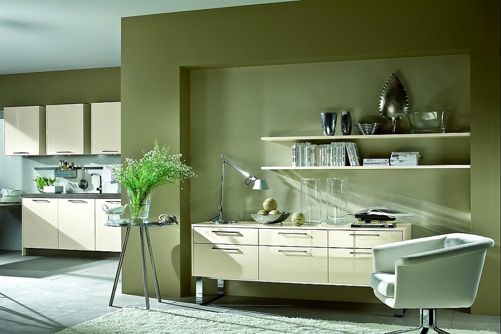 k chenzeile und sideboard mit kufengestell in creme. Black Bedroom Furniture Sets. Home Design Ideas