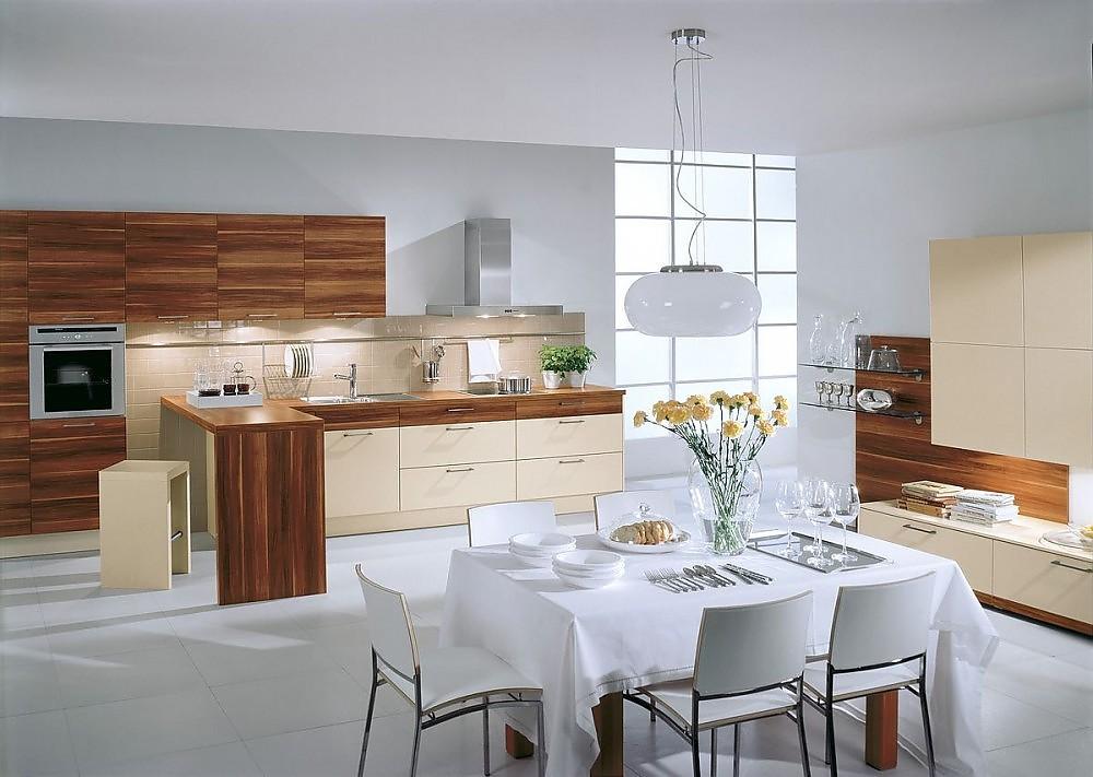 Terra Küchenzeile in Vanille und dunklem Holz mit Sideboard und ... | {Küchenzeile design holz 85}
