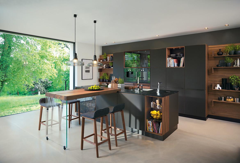 Küche black line mit Kochinsel