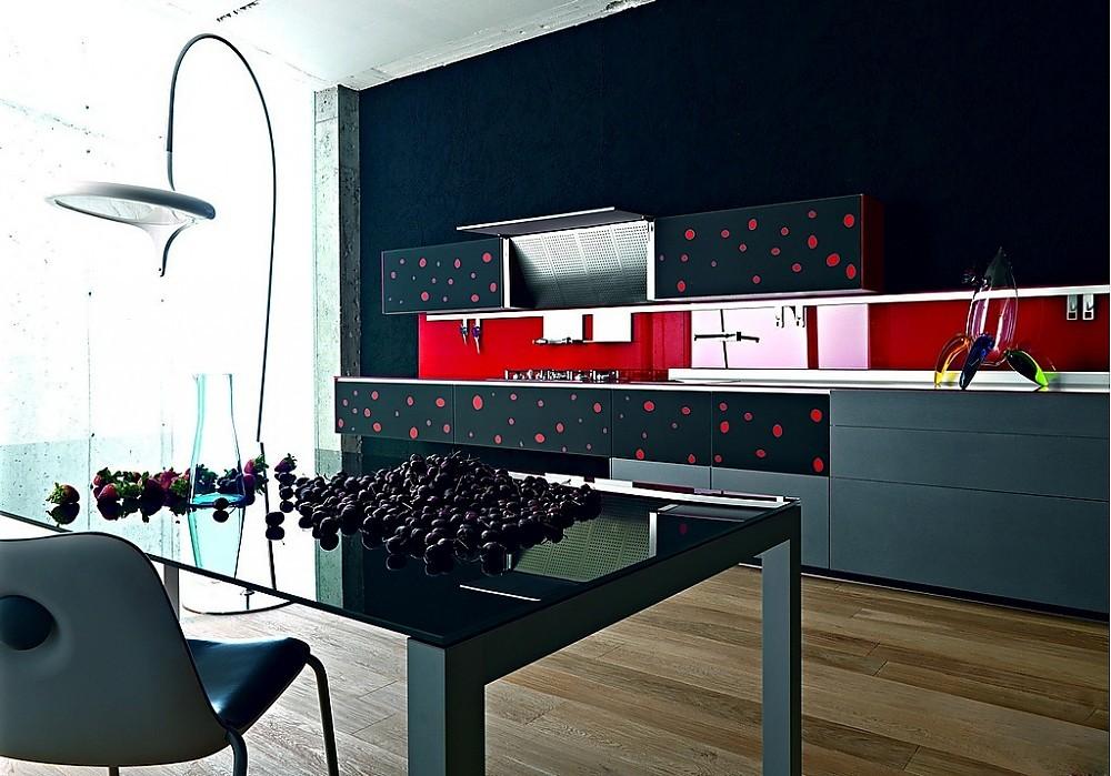 k che artematica vitrum in grau schwarz mit roten punkten. Black Bedroom Furniture Sets. Home Design Ideas