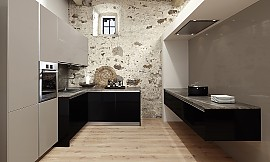 U-Form Küche in Hochglanz Violett mit Arbeitsplatte in Steinoptik | {Küchen u form modern 73}