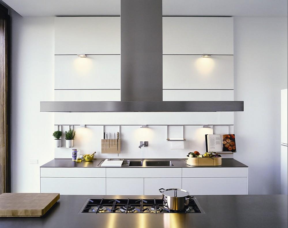 grifflose designk che b3 mit insel in wei und edelstahl. Black Bedroom Furniture Sets. Home Design Ideas